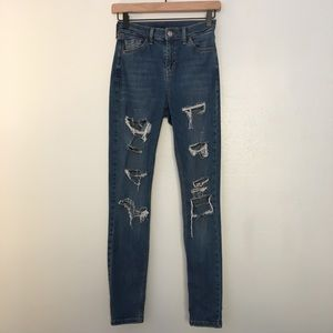 Topshop Jamie Moto Ripped High Waisted Jeans
